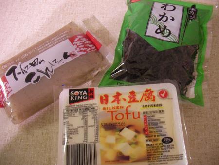 Konnyaku, Tofu, Wakame